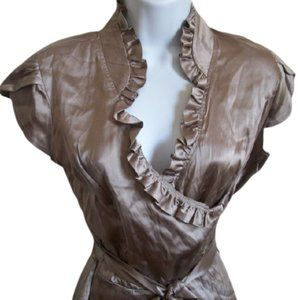 Le Chateau Gold or Bronze Satin Blouse Size Small